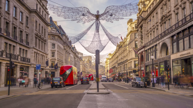 Timelapse sequence of rush hour traffic and Christmas lights in London's Regent Street shot on 12th December 2017