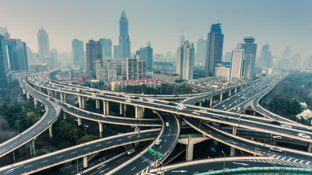 Timelapse Shanghai Highway Intersection with Skyline