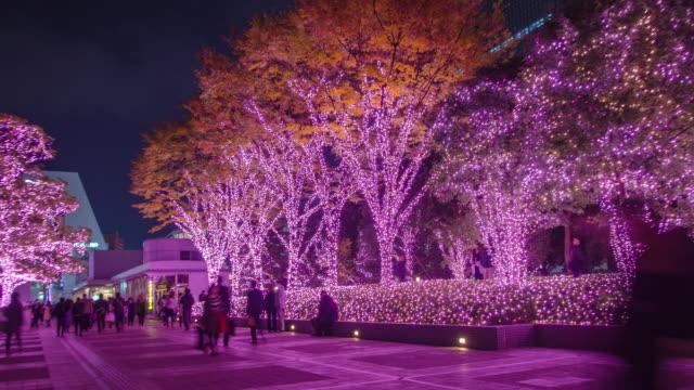 4k timelapse : shinjuku terrace city illumination in tokyo , japan - purple stock videos & royalty-free footage
