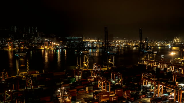 timelapse - ship cargo loading in hong kong at night - container stock videos and b-roll footage