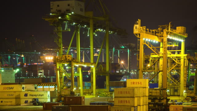 4K Timelapse: Shipping port in Singapore city.