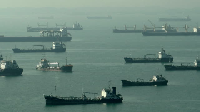 Time-lapse ships Oil tankers activity at East Coast Singapore