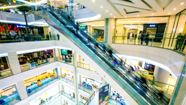 timelapse shopping mall - escalator stock videos & royalty-free footage