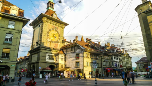 timelapse Shopping Street with Clock Tower in Bern City, Switzerland