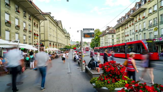 Timelapse Shopping Street with Clock Tower, Switzerland