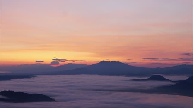 time-lapse shot; eastern side of the sea of clouds over lake kussharo - caldera stock videos and b-roll footage