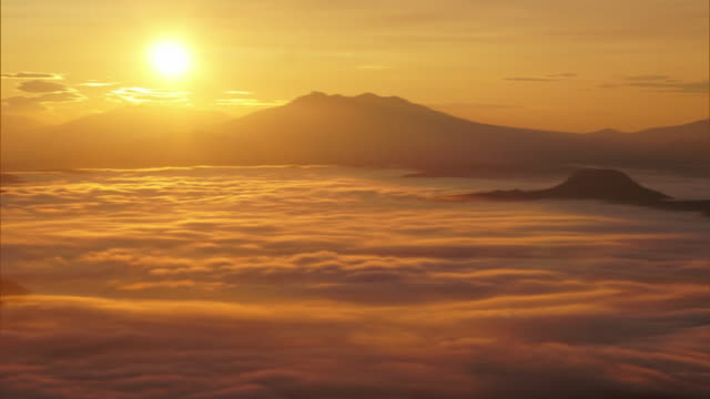 time-lapse shot; eastern side of the sea of clouds over lake kussharo - light natural phenomenon stock videos & royalty-free footage