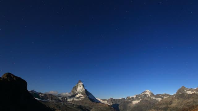 Timelapse shot from Matterhorn by night