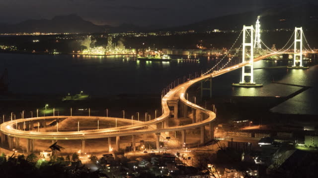 Time-lapse shot; Long shot of Muroran City at night, Hokkaido, Japan.