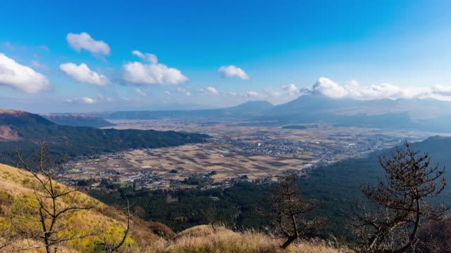 Time-lapse shot: Long shot of the Aso Caldera, Kumamoto, Japan.