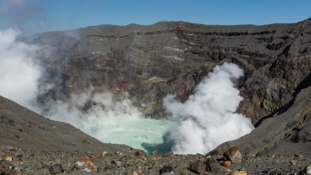 Time-lapse shot: Long shot of the volcanic gas billowing from the primary crater of Mt. Naka, Kumamoto, Japan.