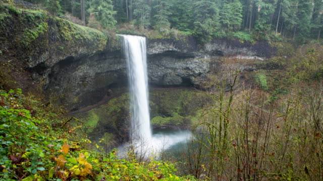 Timelapse shot of a waterfall in Silver Falls State Park, Oregon.
