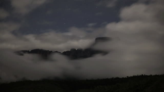 Timelapse shot of clouds rolling over the Tepuis at night, Venezuela.