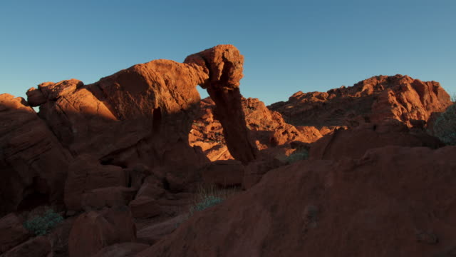 Timelapse shot of Elephant Rock during sunset at Nevada's Valley of Fire State Park.