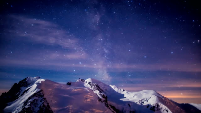 Time-Lapse shot of galaxy over Mont Blanc (highest mountain in Alps)