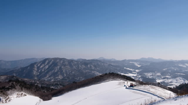 Time-Lapse shot of large snowy field on mountain in Pyeongchang (2018 Winter Olympics)
