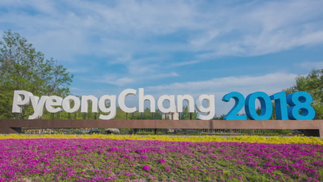 Time-Lapse shot of large welcoming letters of Pyeongchang 2018