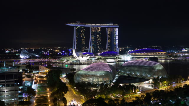 Timelapse shot of Marina Bay Sands hotel at night