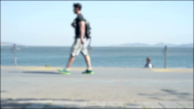 Timelapse shot of people walking along the cost of Marmara Sea Istanbul