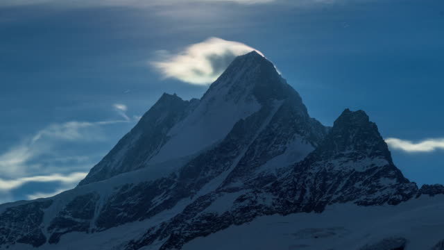 Time-Lapse shot of Schreckhorn (highest peak located entirely in the canton of Bernese Alps)