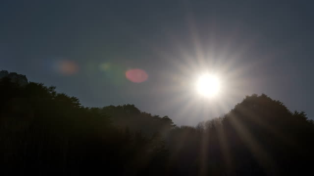 Time-Lapse shot of sun setting over the forest silhouette in Pyeongchang (2018 Winter Olympics)