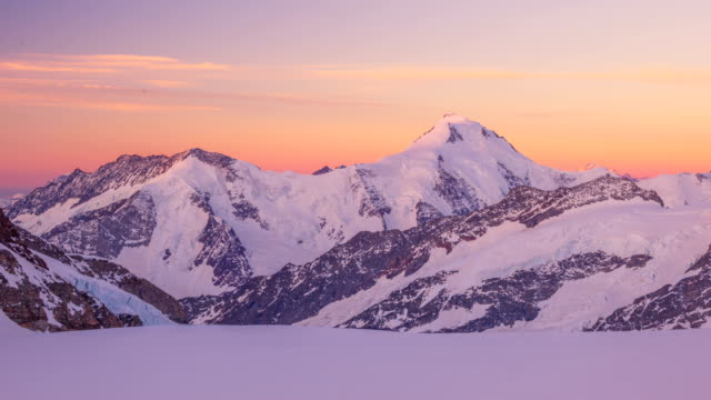 Time-Lapse shot of sunlight lying on Jungfrau (one of the main summits of Bernese Alps)
