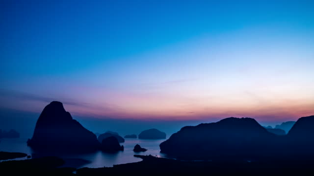 Time-lapse shot of Sunrise at view point of island in the sea,Samet Nang She, Phang-Nga Bay, Thailand