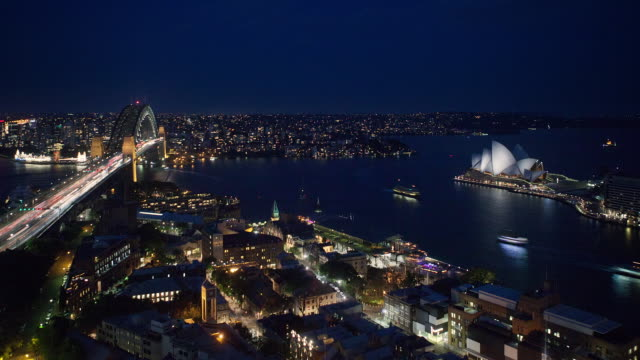 Timelapse shot of Sydney harbour at night