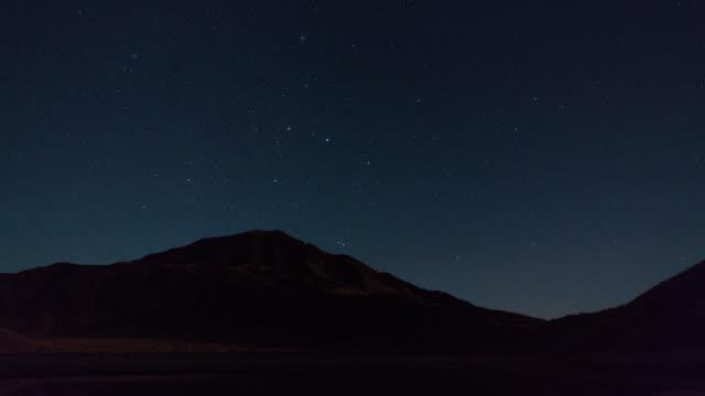 Time-lapse shot: Starry night sky over Mt. Eboshi, Kumamoto, Japan.