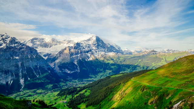 Time-Lapse shot taken from Grindelwald First in European Alps