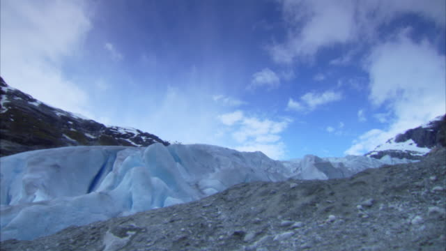 Time-lapse shots of fast moving clouds over Nigardsbreen glacier