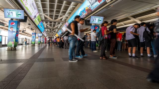 time-lapse: siam sky train metro station - railway station platform stock videos and b-roll footage