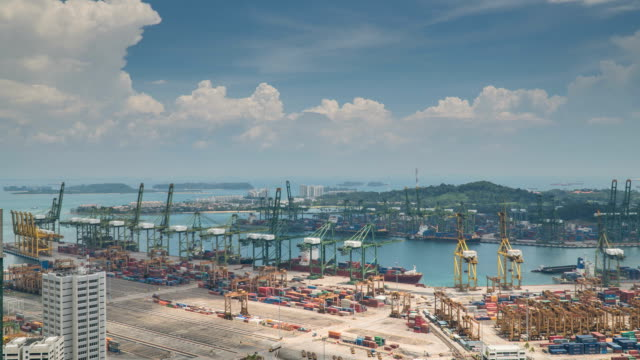 4k time-lapse: singapore aerial warehouse port background - commercial land vehicle stock videos & royalty-free footage