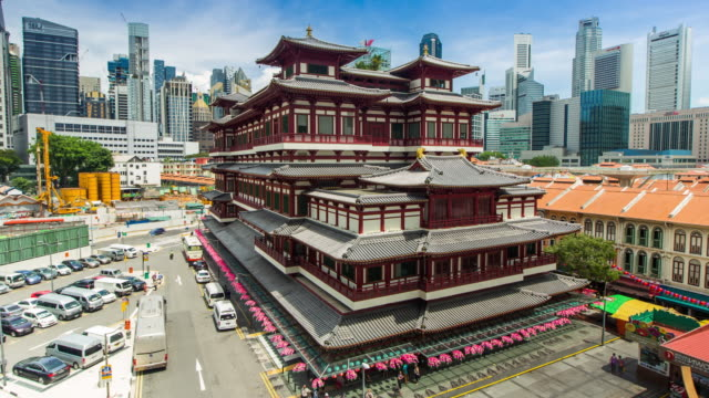 4k timelapse : singapore buddha tooth relic temple - buddha stock videos & royalty-free footage