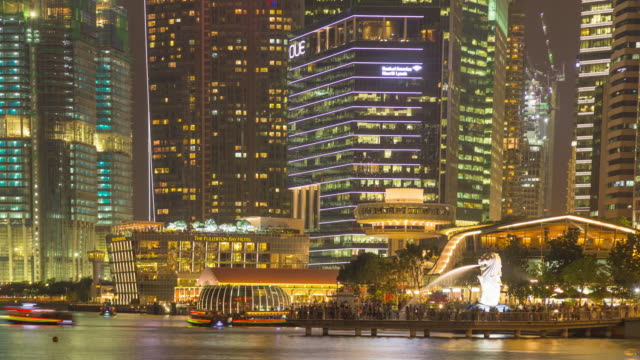 4k timelapse: singapore city in night. - merlion fictional character stock videos and b-roll footage