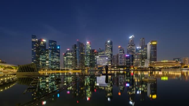 タイムラプス シンガポール市街のスカイラインの 4 k、市に日の日の出までの夜 - ウォーターフロント点の映像素材/bロール