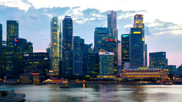 HD Time-lapse: Singapore Cityscape at dusk