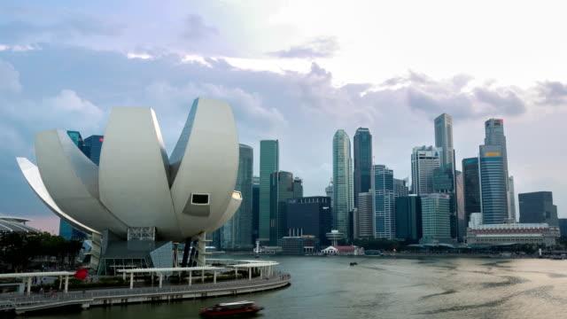 HD-Zeitraffer: Singapur Skyline in der Dämmerung