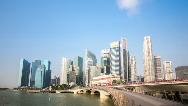 4k time-lapse: singapore cityscape marina bay morning - singapore river stock videos & royalty-free footage