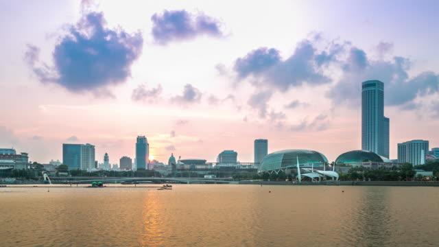 4k time-lapse: singapore cityscape marina bay - singapore river stock videos & royalty-free footage