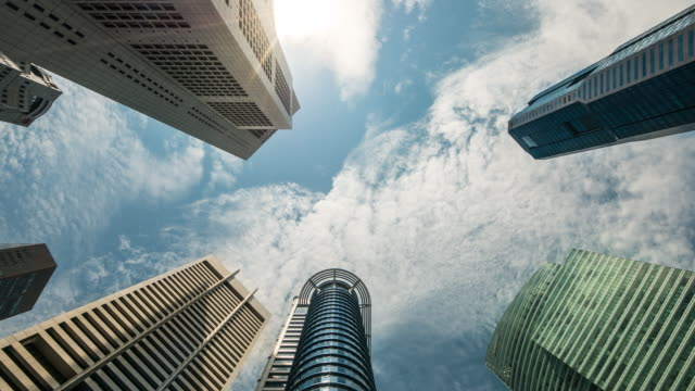 4k time-lapse: singapore cityscape office background, 4k(uhd) - directly below stock videos & royalty-free footage