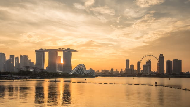4K Time-lapse: Singapore Cityscape sunset at Dusk