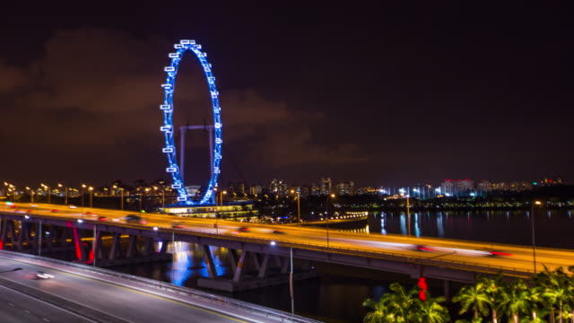 4K Timelapse : Singapore flyer cityscape at night