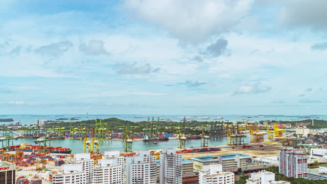 4k time-lapse singapore terminal port, logistics and transportation and cargo ships - noelia ramon stock videos & royalty-free footage