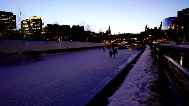 time-lapse : skating on the rideau canal during winterlude in ottawa, canada - rideau canal stock videos & royalty-free footage