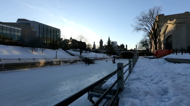 time-lapse : skating on the rideau canal during winterlude in ottawa, canada - canal stock videos & royalty-free footage