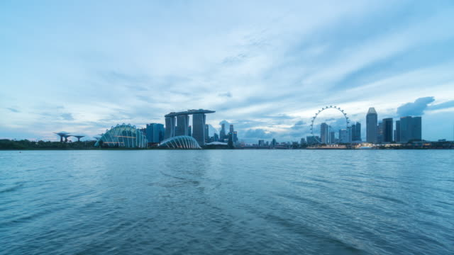 4k time-lapse : skyline of marina bay, singapore - singapore flyer stock videos and b-roll footage