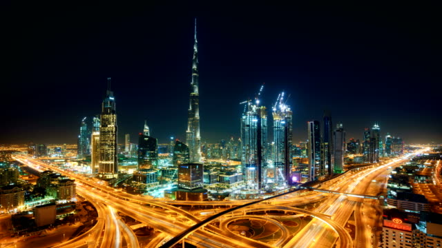 dubai timelapse skyline - skyline stock videos & royalty-free footage
