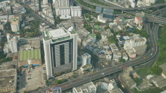 timelapse: Skyscrapers and traffic over the city. Baiyoke bangkok view