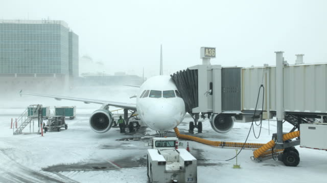 Time-lapse Snowy Airport Gate & Jetliner